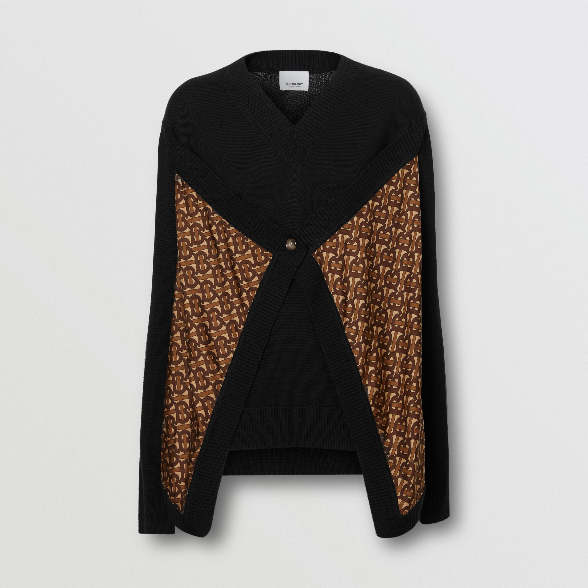 Monogram Print Silk Panel Merino Wool Sweater in Black - Women | Burberry - 4