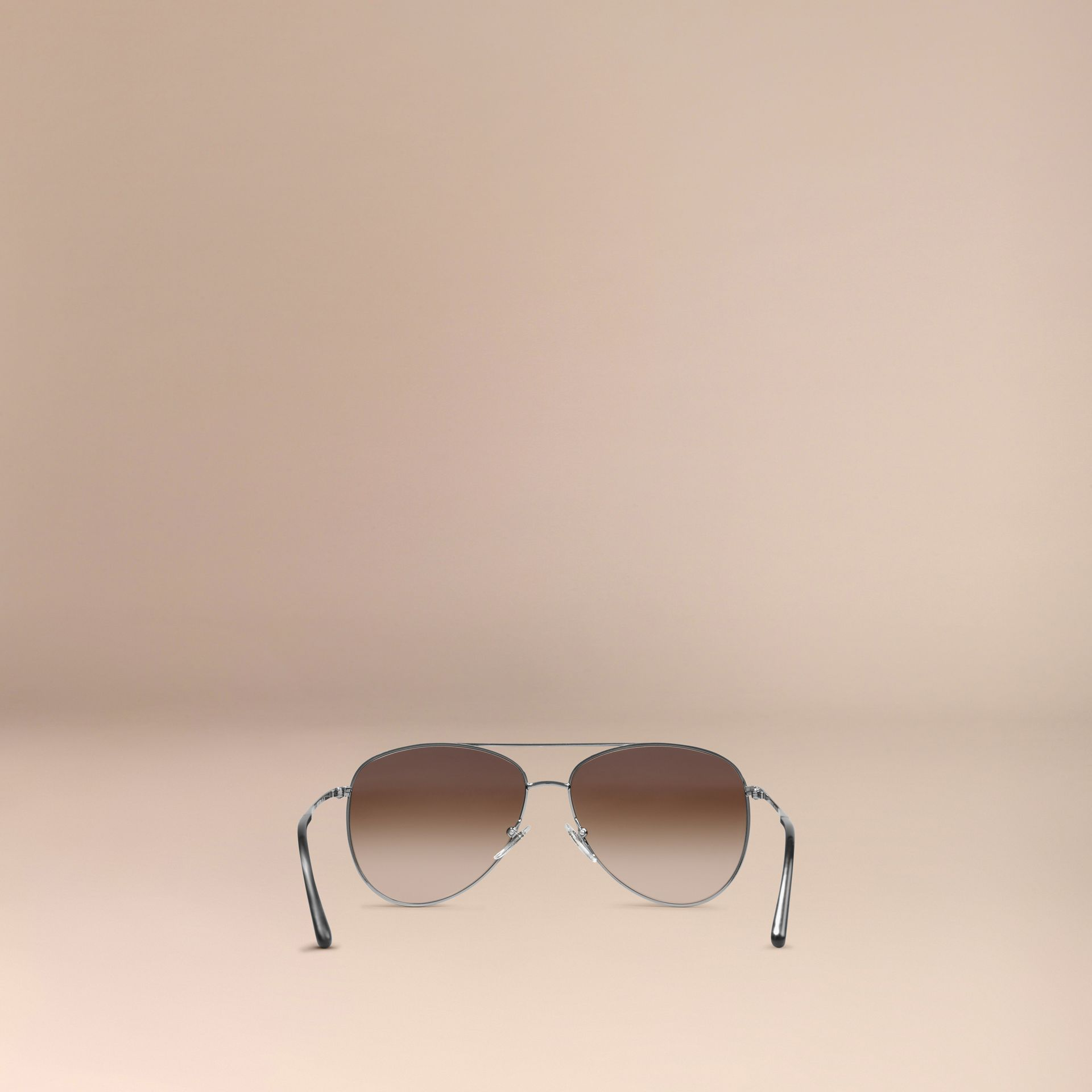 Nickel Check Arm Aviator Sunglasses Nickel - gallery image 3