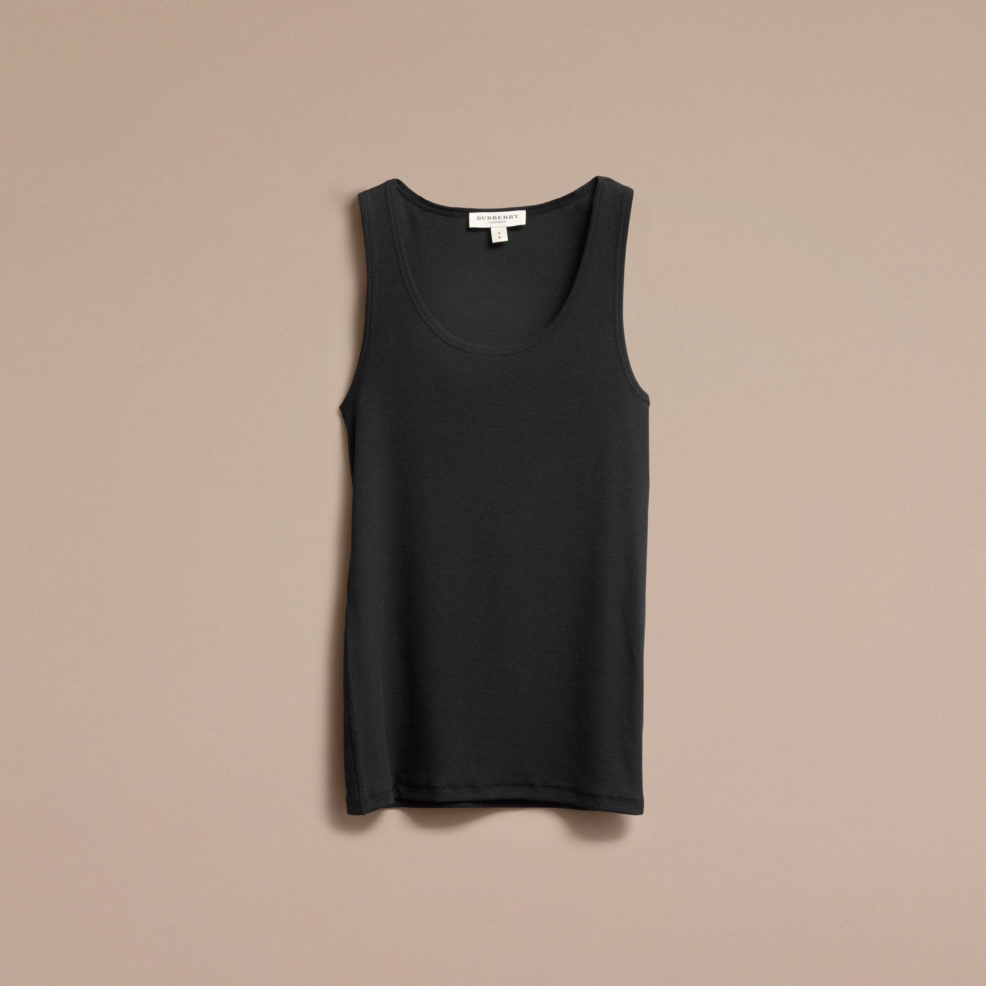 Black Stretch Cotton Lyocell Vest Black - gallery image 4
