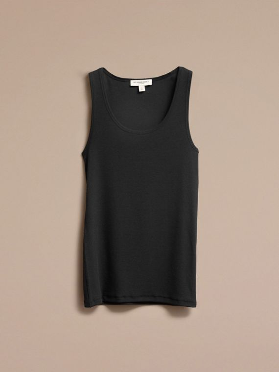 Black Stretch Cotton Lyocell Vest Black - cell image 3