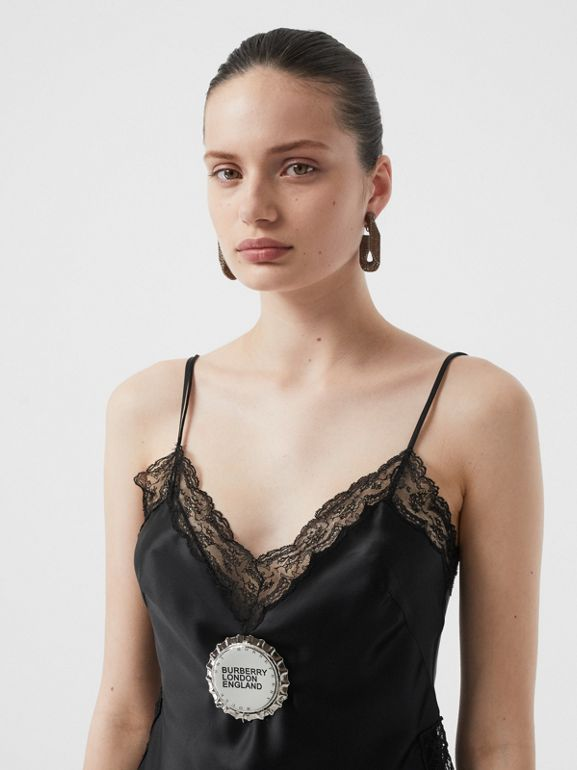 Bottle Cap Detail Silk Satin Camisole in Black - Women | Burberry - cell image 1