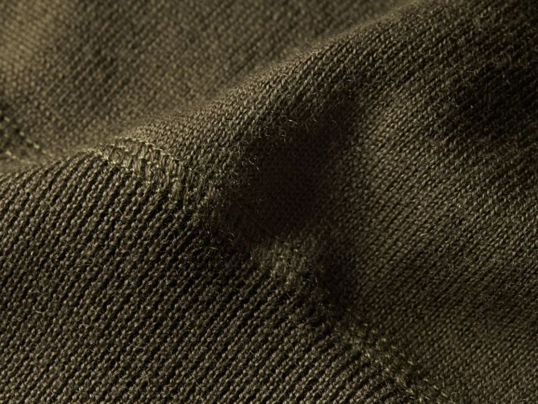 Crew Neck Cashmere Sweater in Military Olive - cell image 1
