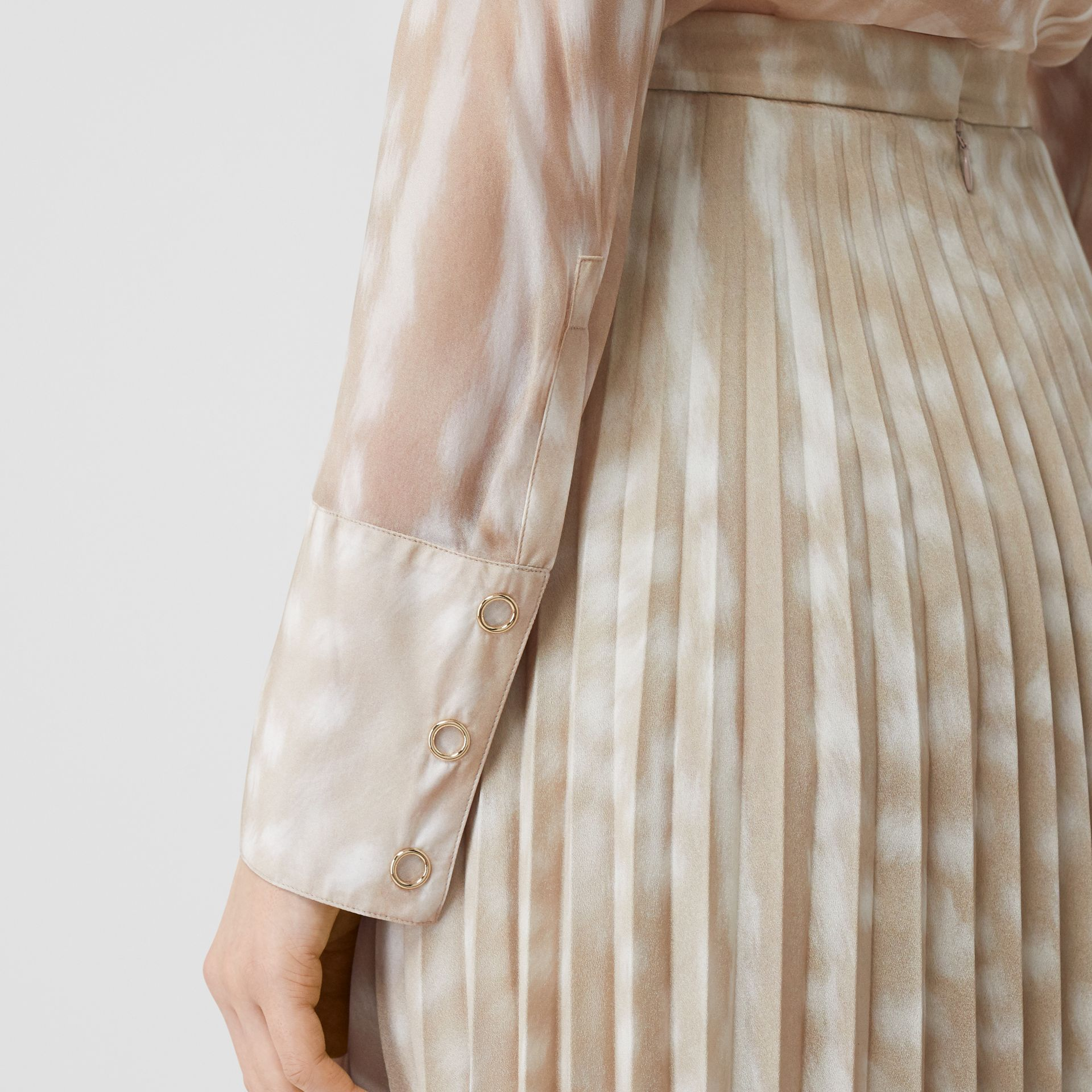 Deer Print Pleated Skirt in Soft Fawn - Women | Burberry - gallery image 1