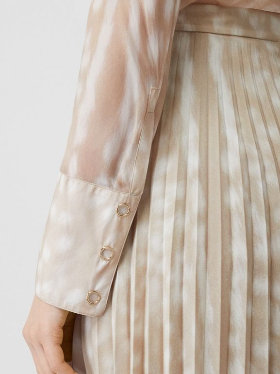 Deer Print Pleated Skirt in Soft Fawn - Women | Burberry - cell image 1
