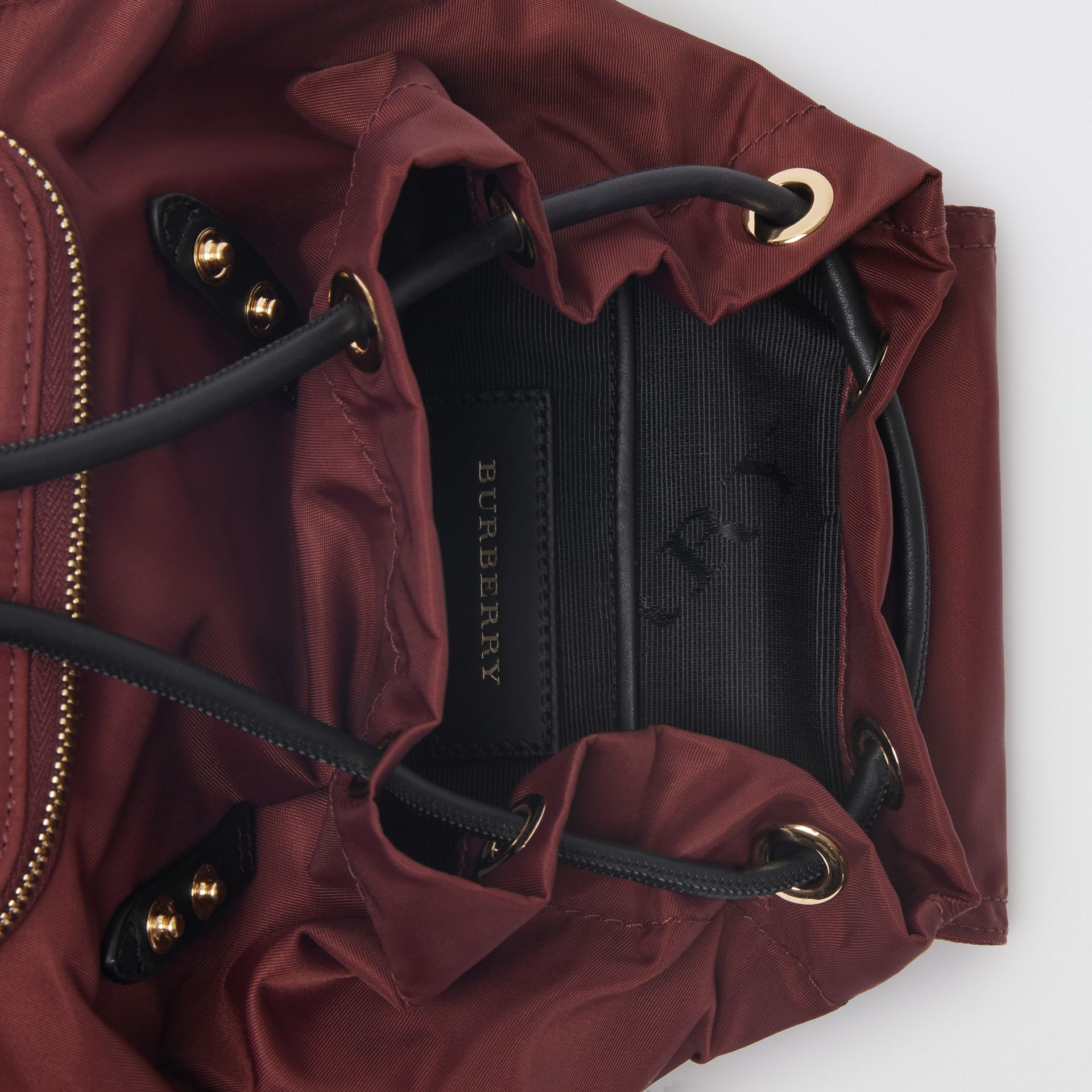 The Small Crossbody Rucksack in Nylon in Burgundy Red - Women | Burberry Australia - gallery image 5
