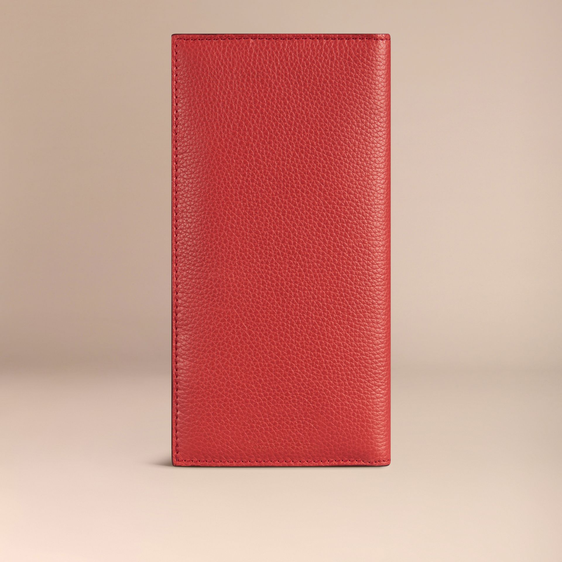 Grainy Leather Travel Card Case Orange Red - gallery image 3