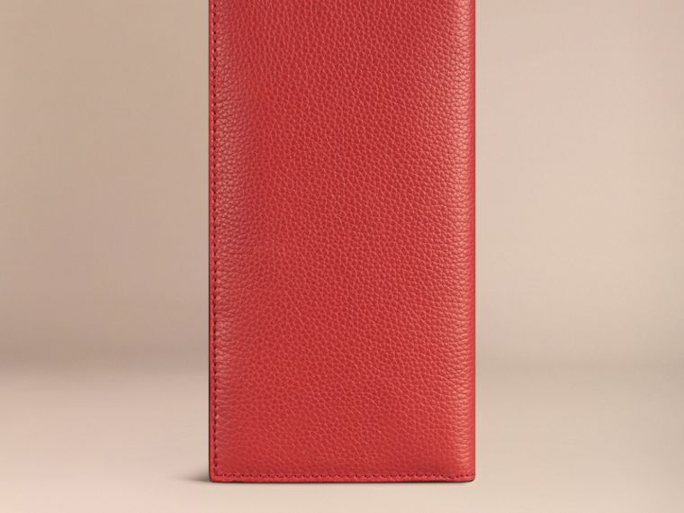 Grainy Leather Travel Card Case in Orange Red | Burberry Canada - cell image 2