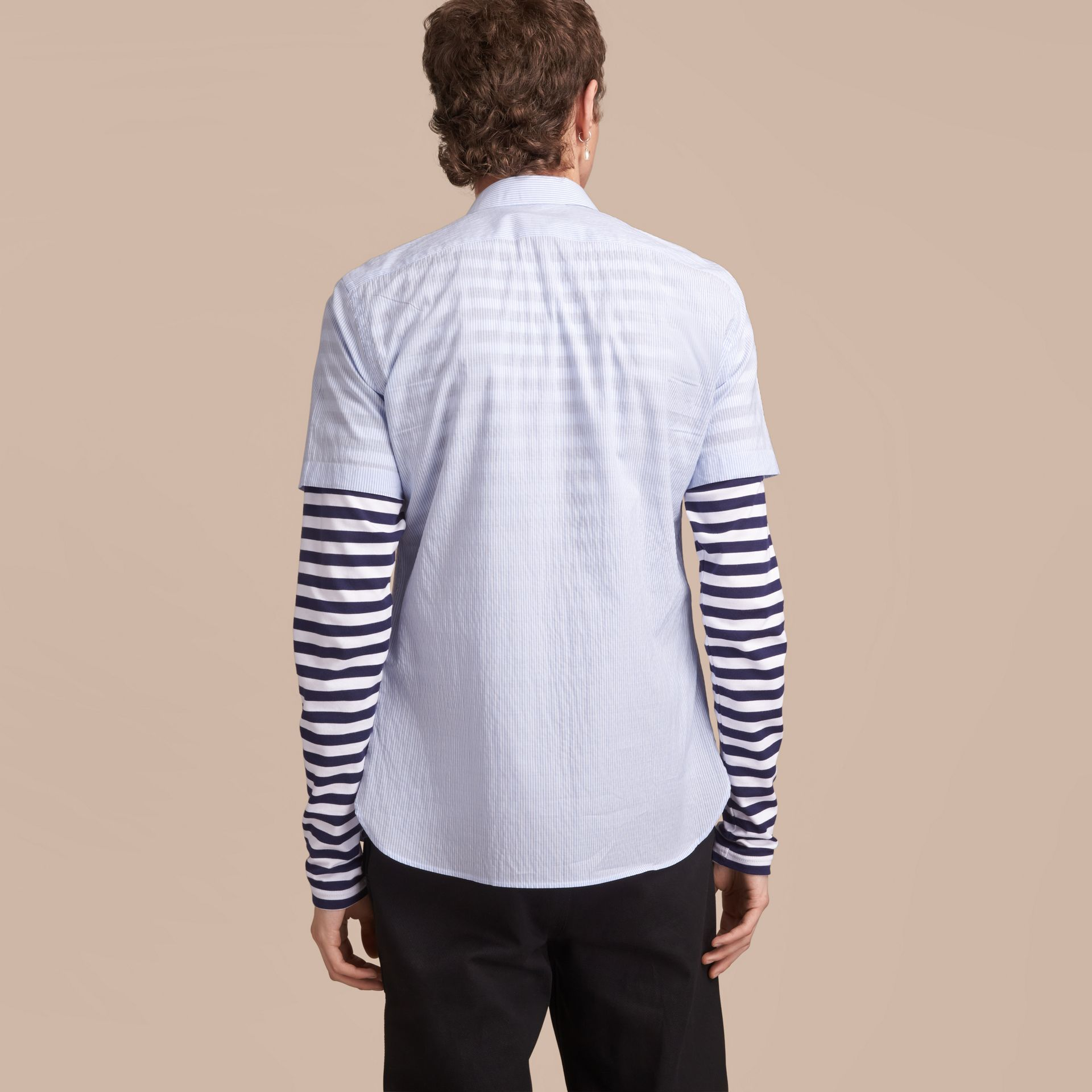 Short-sleeve Striped Cotton Seersucker Shirt in Light Blue - Men | Burberry - gallery image 3