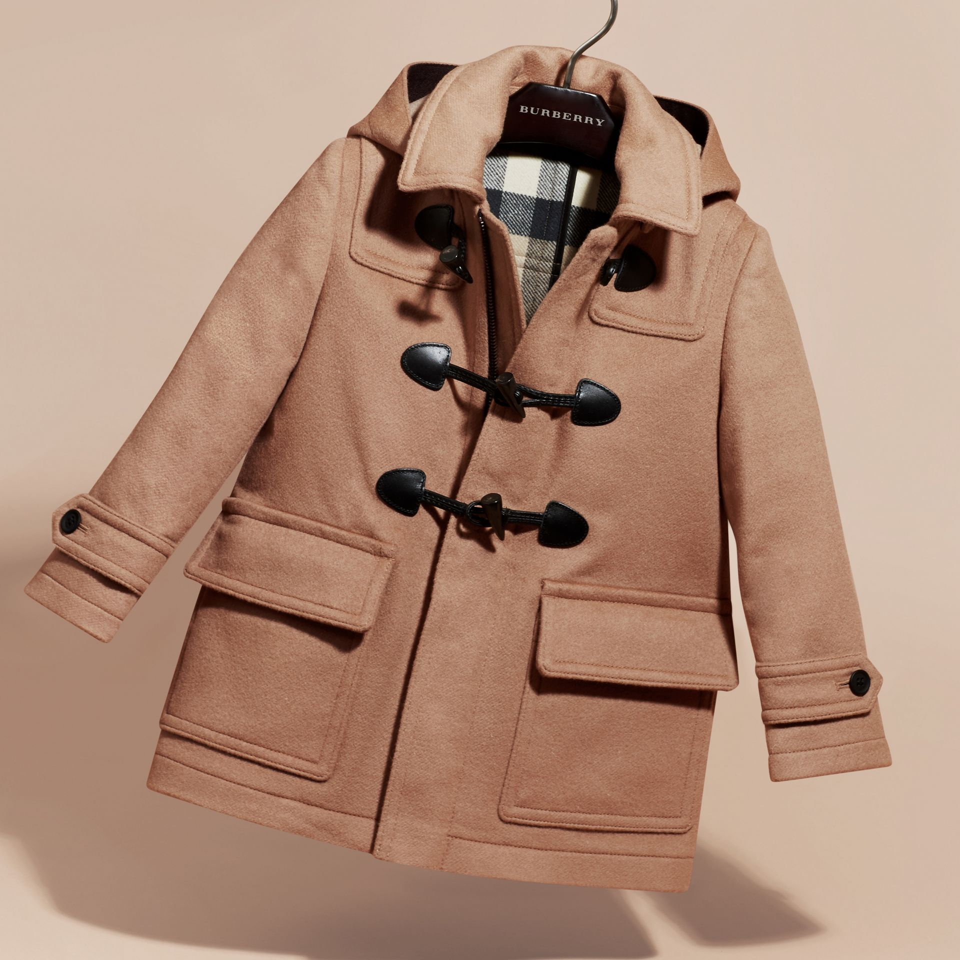 Wool Duffle Coat with Check-lined Hood New Camel - gallery image 3