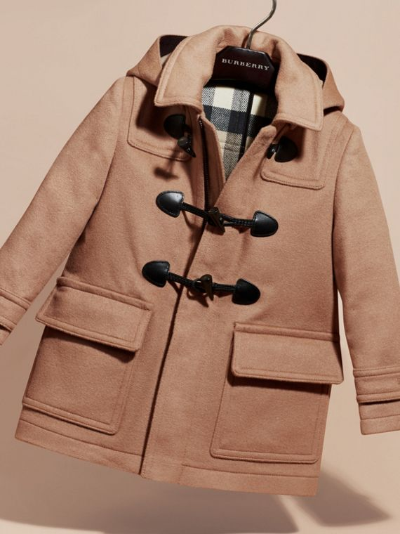 Wool Duffle Coat with Check-lined Hood New Camel - cell image 2
