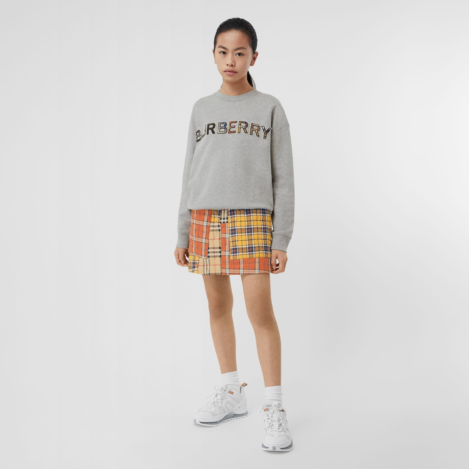 Check Logo Cotton Sweatshirt in Grey Melange | Burberry - gallery image 2