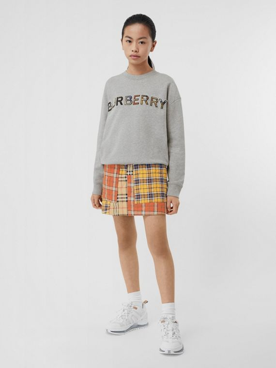 Check Logo Cotton Sweatshirt in Grey Melange
