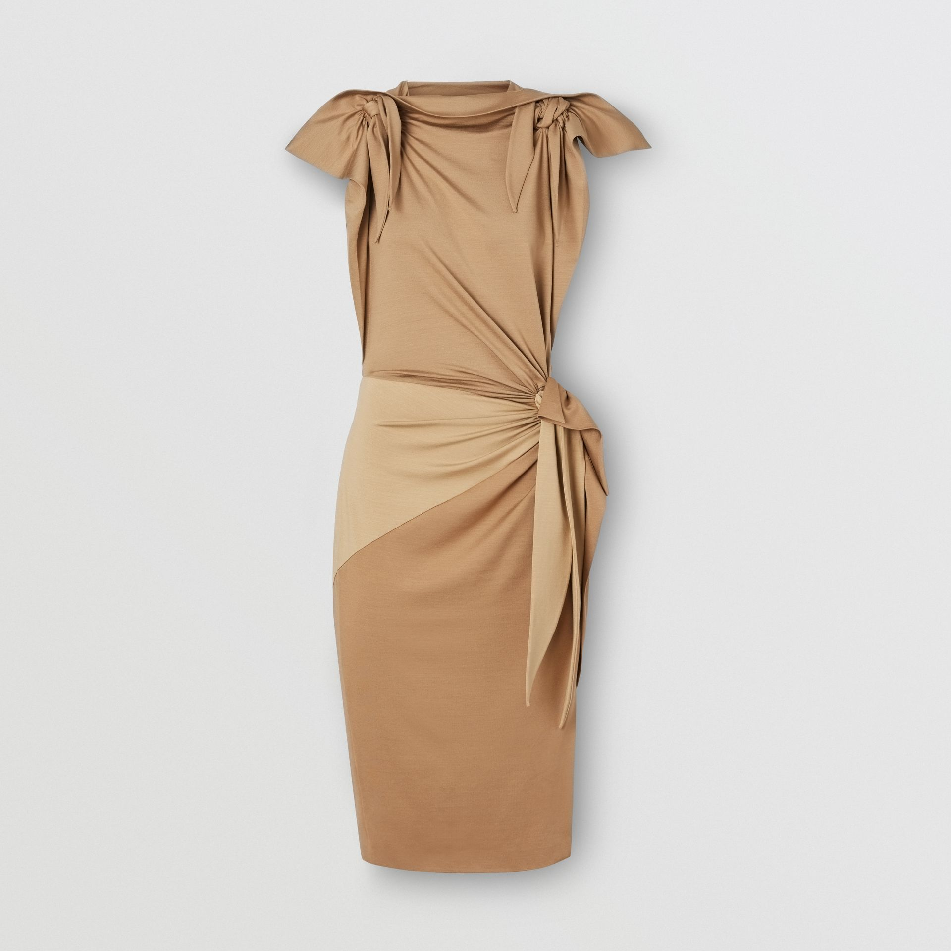 Tie Detail Tri-tone Silk Jersey Dress in Wheat - Women | Burberry - gallery image 3
