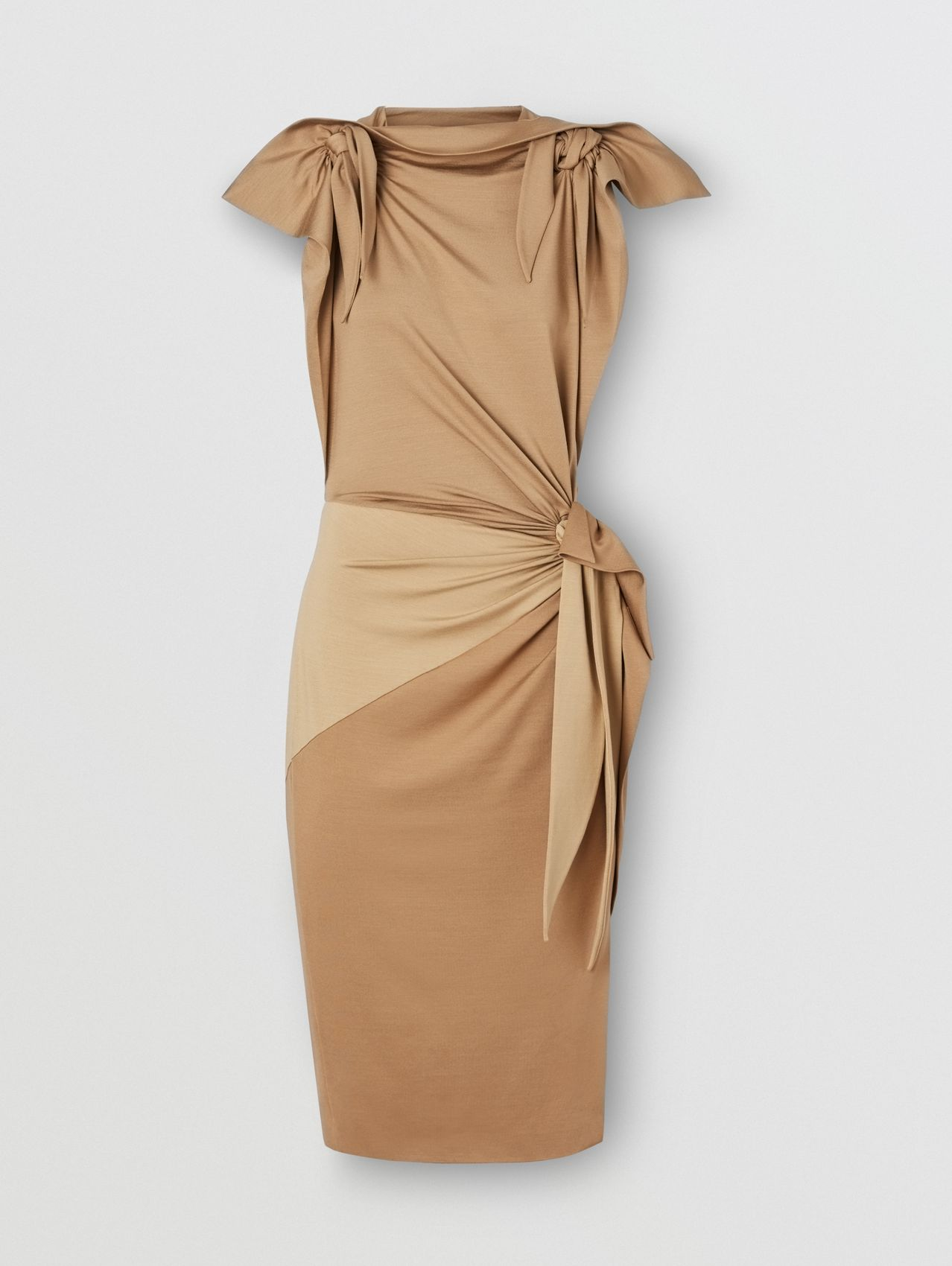 Tie Detail Tri-tone Silk Jersey Dress in Wheat