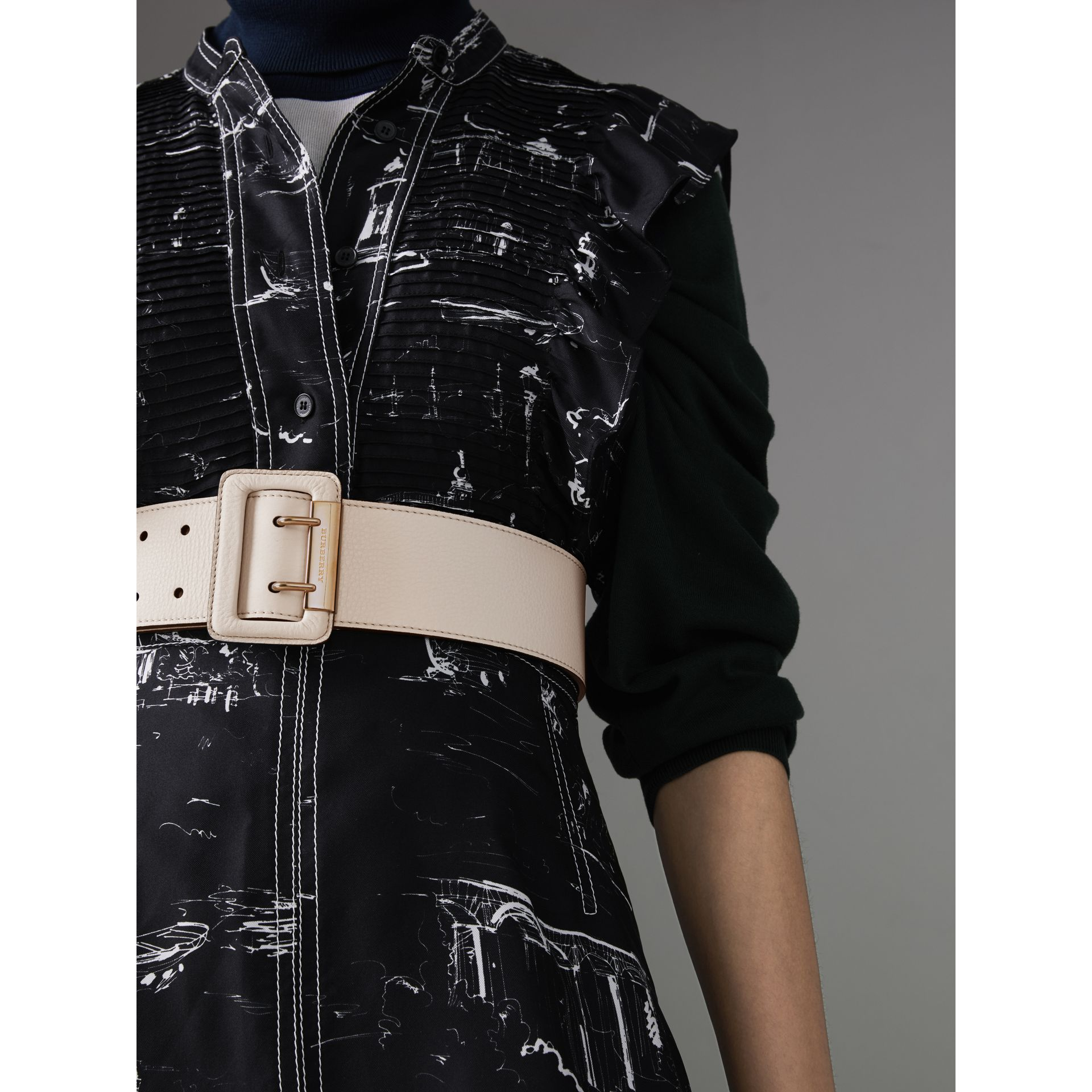 Double Pin Buckle Leather Belt in Limestone - Women | Burberry - gallery image 2