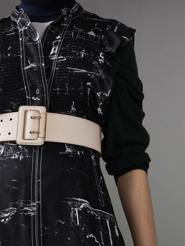 Double Pin Buckle Leather Belt in Limestone - Women | Burberry United Kingdom - cell image 2
