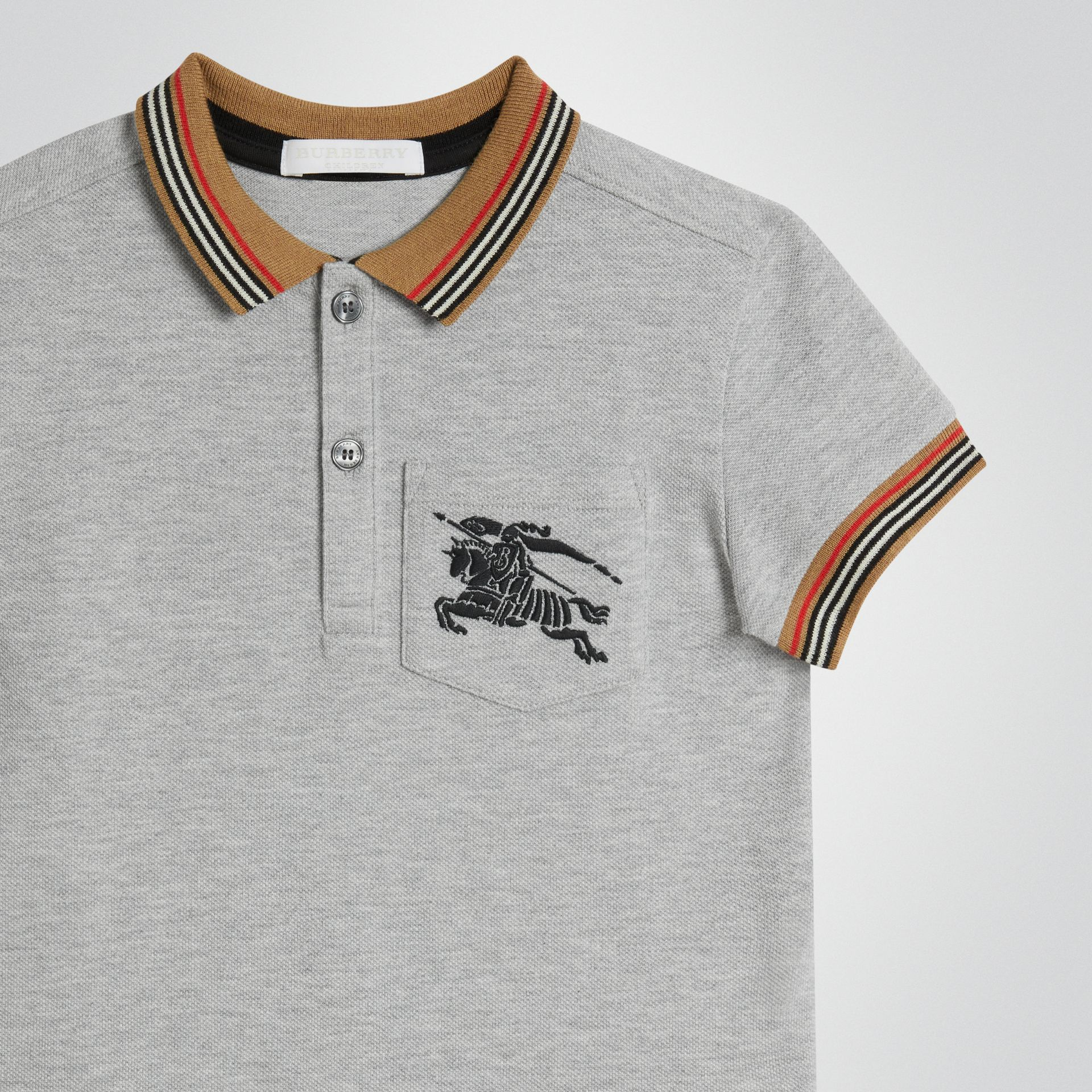 Icon Stripe Detail Cotton Polo Shirt in Grey Melange | Burberry - gallery image 4
