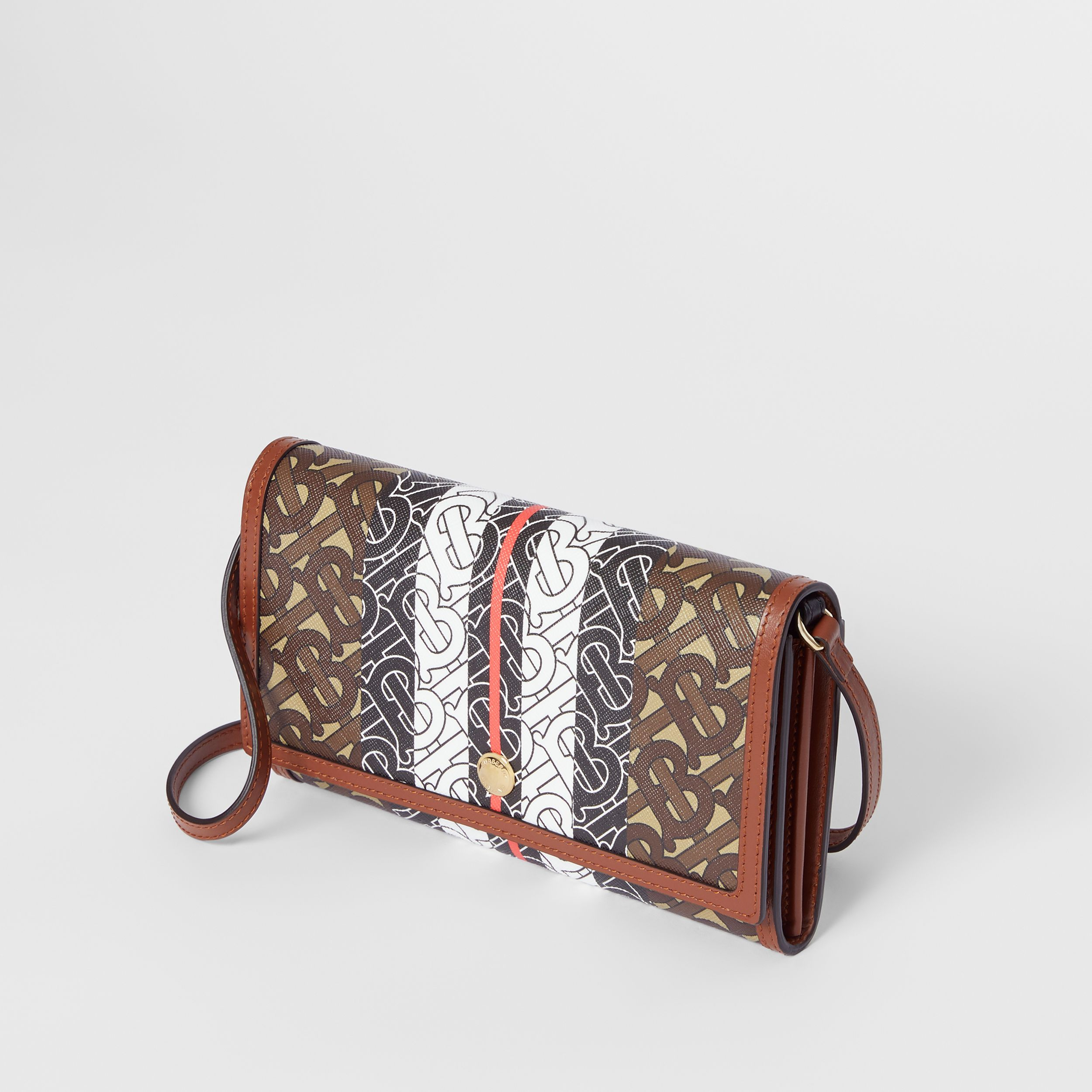 Monogram Stripe E-canvas Wallet with Strap in Bridle Brown - Women | Burberry Australia - 4