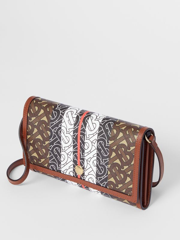 Monogram Stripe E-canvas Wallet with Strap in Bridle Brown - Women | Burberry United Kingdom - cell image 3