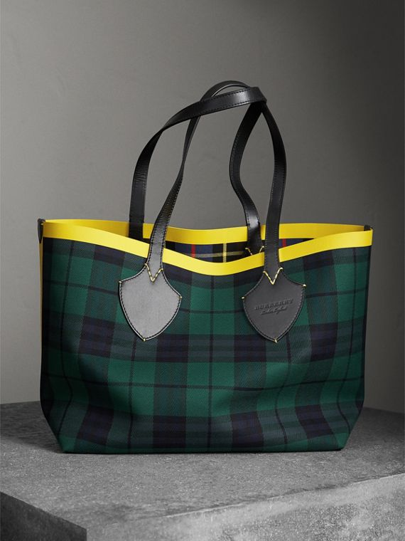 Borsa tote The Giant double face in cotone con motivo tartan (Verdone/blu Cobalto)