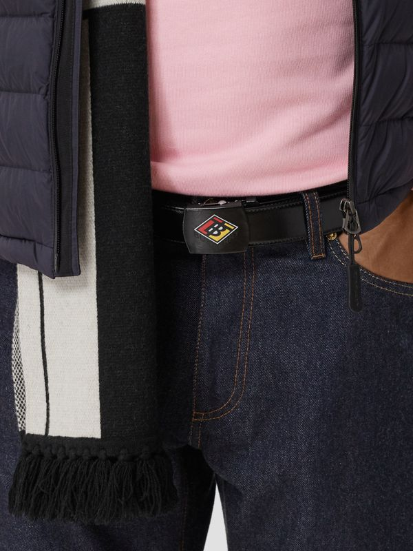 Logo Graphic Plaque Buckle Canvas Belt in Black - Men | Burberry - cell image 2