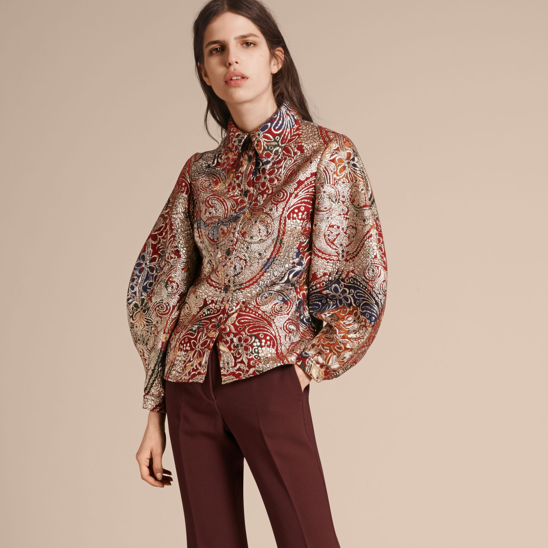 Russet brown Metallic Floral Jacquard Sculptured Sleeve Shirt - gallery image 1