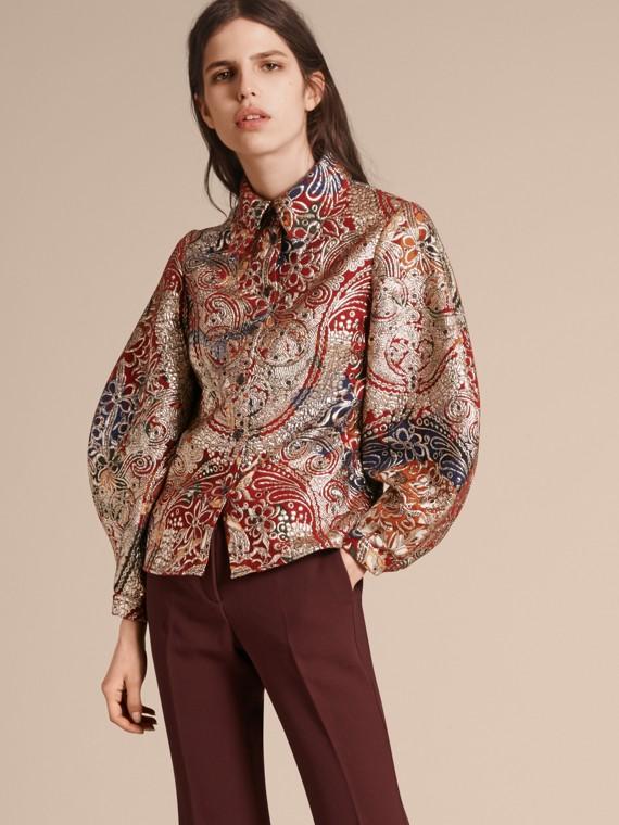 Metallic Floral Jacquard Sculptured Sleeve Shirt