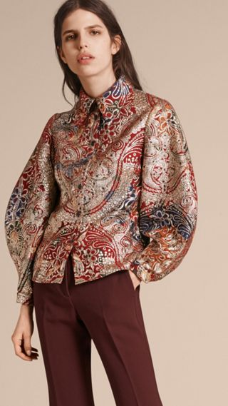 Metallic Floral Jacquard Sculptured Sleeve Shirt