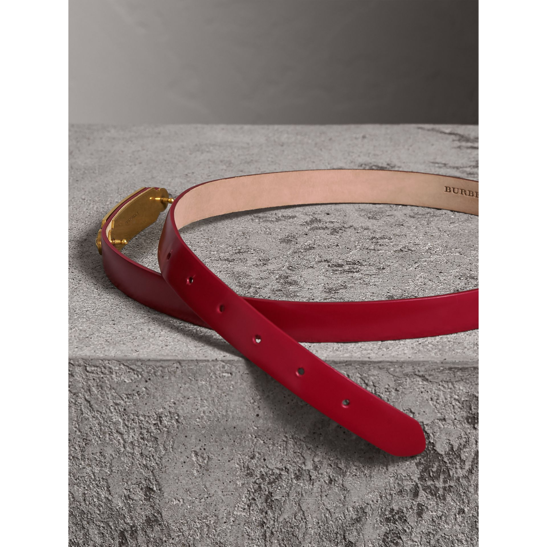 Plaque Buckle Leather Belt in Parade Red - Women | Burberry - gallery image 3