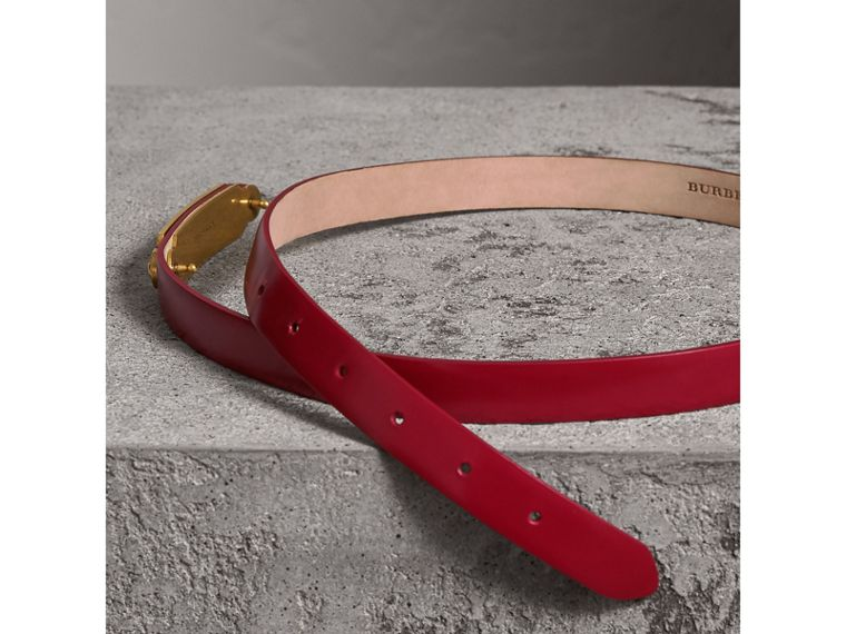 Plaque Buckle Leather Belt in Parade Red - Women | Burberry - cell image 2