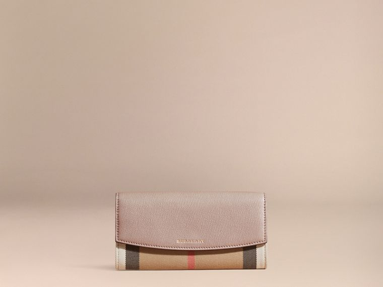 Thistle grey House Check And Leather Continental Wallet Thistle Grey - cell image 1