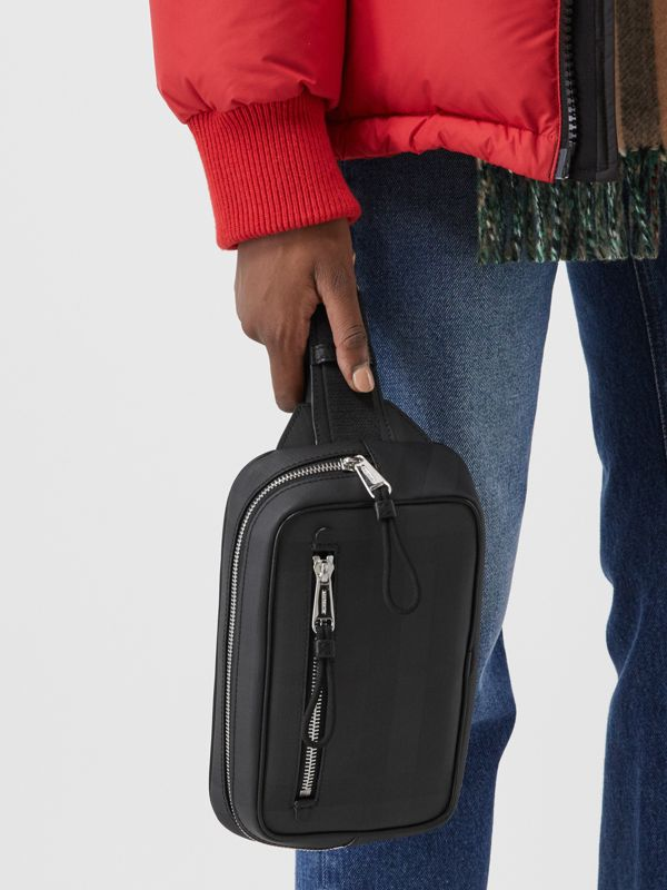 London Check and Leather Bum Bag in Dark Charcoal - Men | Burberry - cell image 2