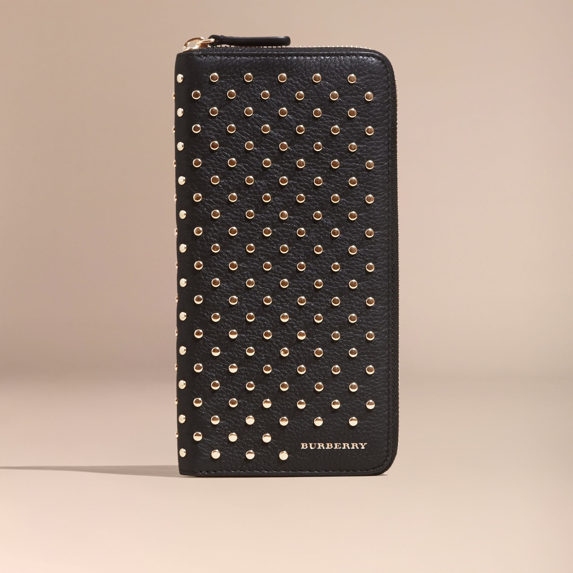 Black Studded Leather Ziparound Wallet - gallery image 6