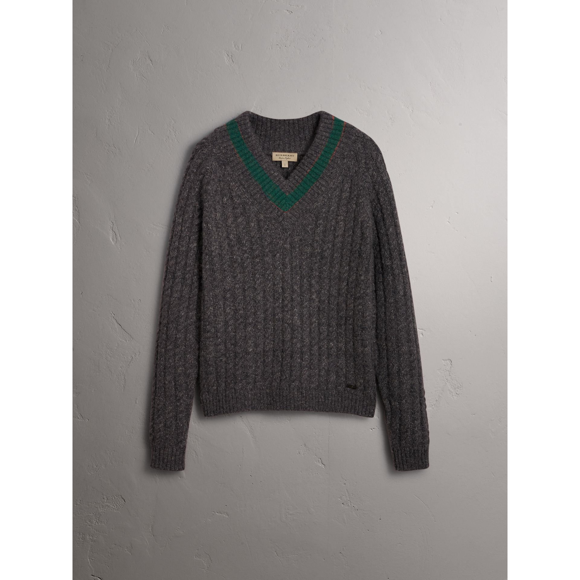 Cashmere Blend Cricket Sweater in Charcoal - Men | Burberry United Kingdom - gallery image 3