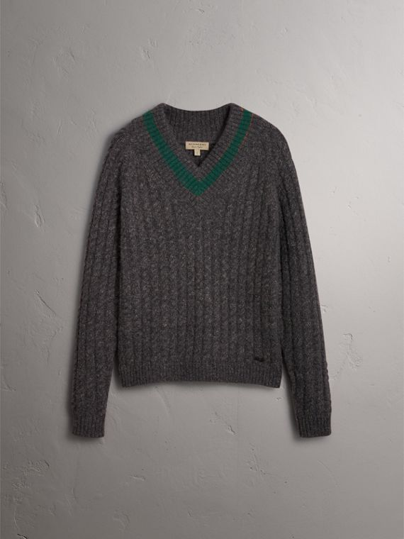 Cashmere Blend Cricket Sweater in Charcoal - Men | Burberry - cell image 3