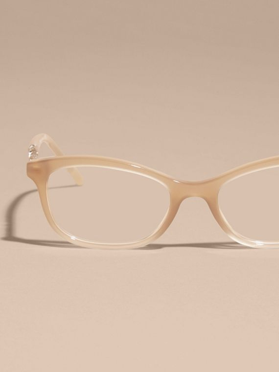 Check Detail Oval Optical Frames Chino Grey - cell image 2