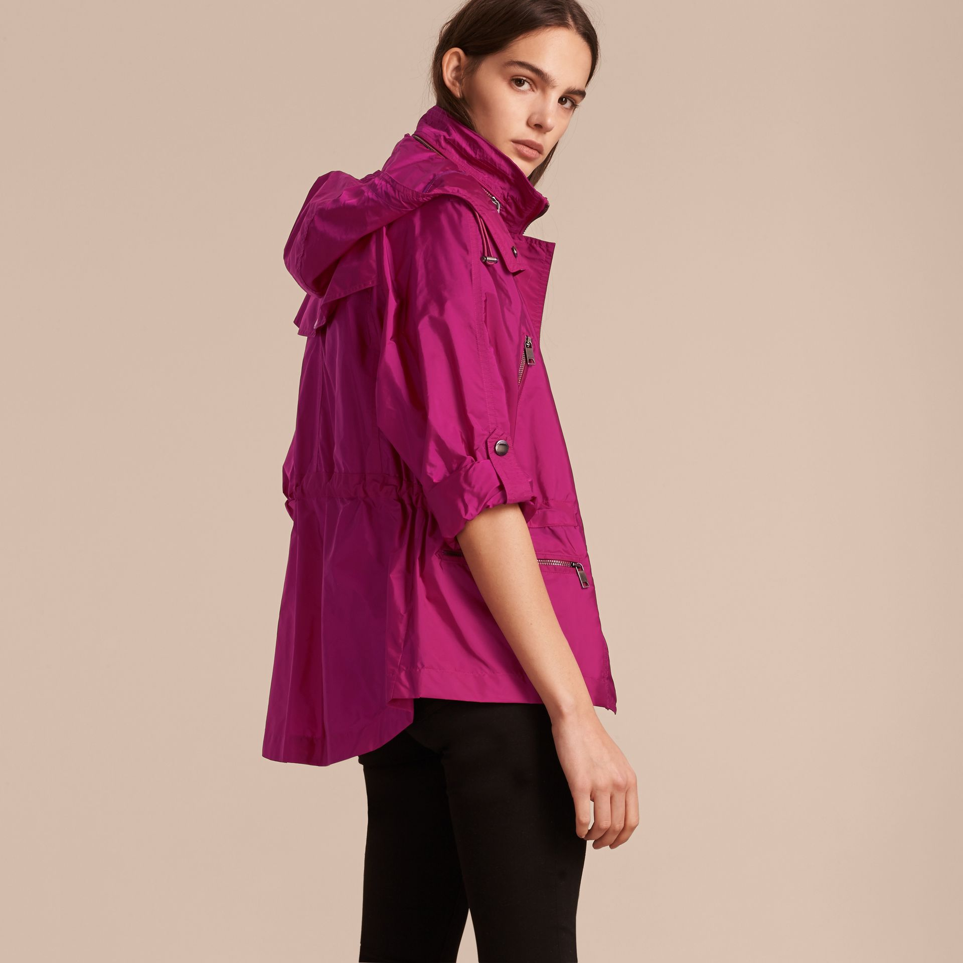 Showerproof Parka Jacket with Packaway Hood in Fuchsia - gallery image 3