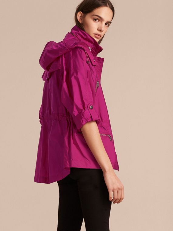 Showerproof Parka Jacket with Packaway Hood in Fuchsia - cell image 2