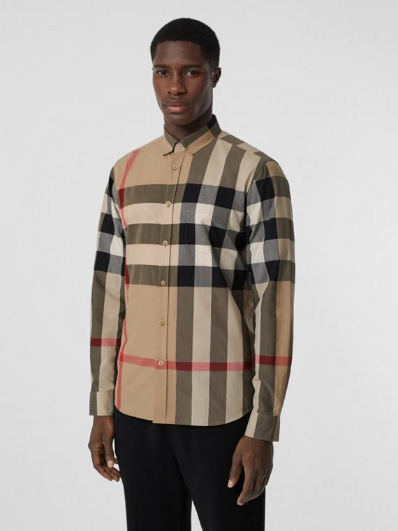 Camicia in popeline di cotone stretch con motivo tartan (Beige Archivio)