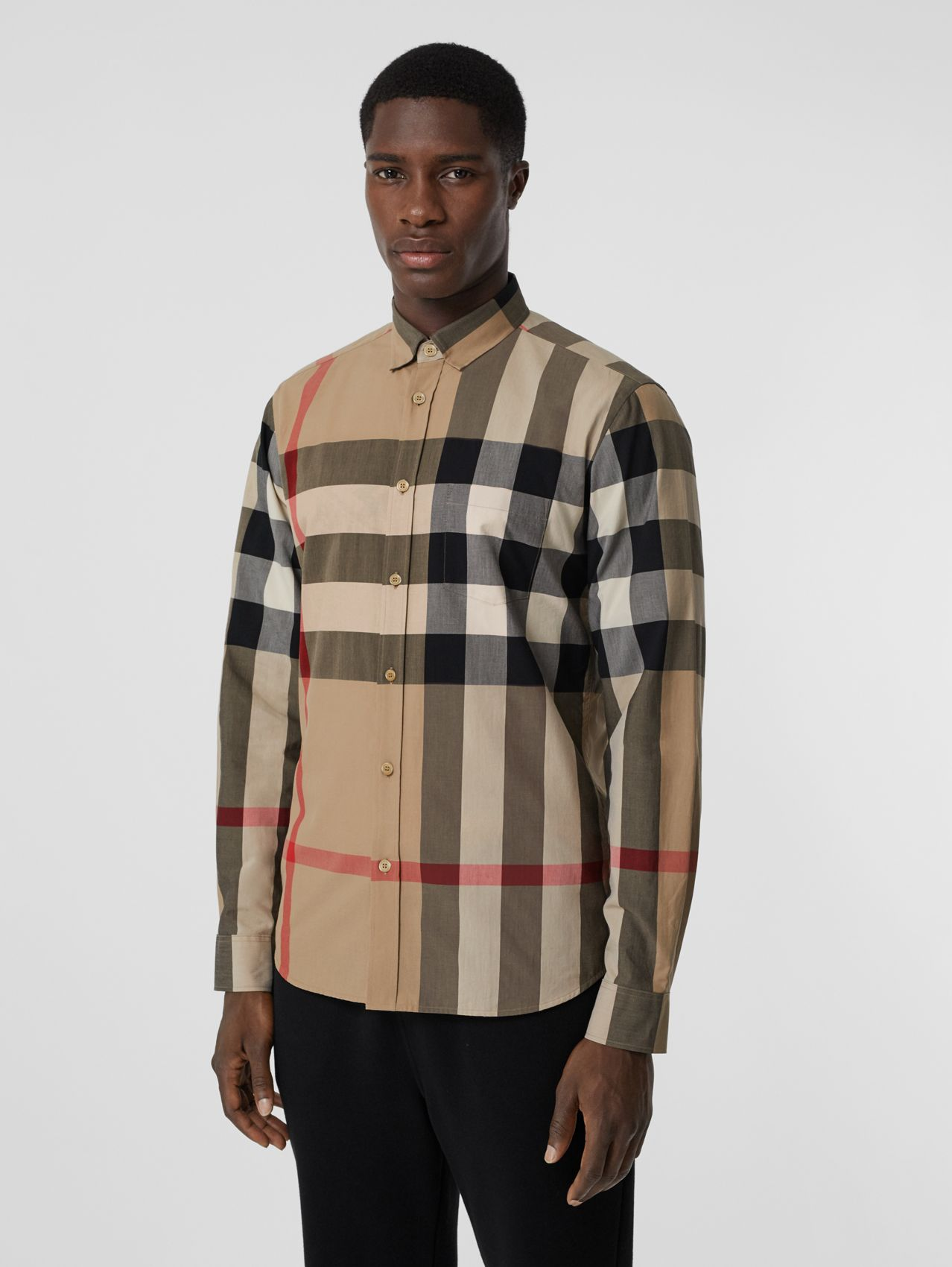 Check Stretch Cotton Poplin Shirt in Archive Beige