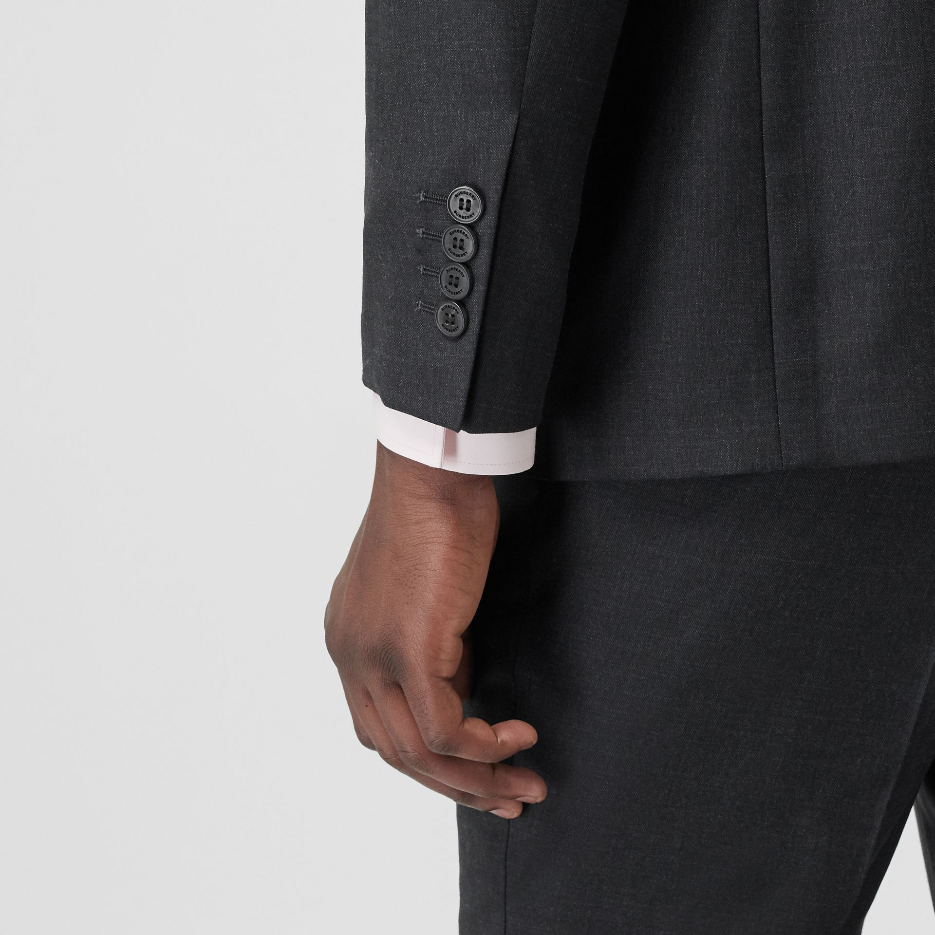 Slim Fit Wool Silk Linen Suit in Dark Grey Melange - Men | Burberry - gallery image 5