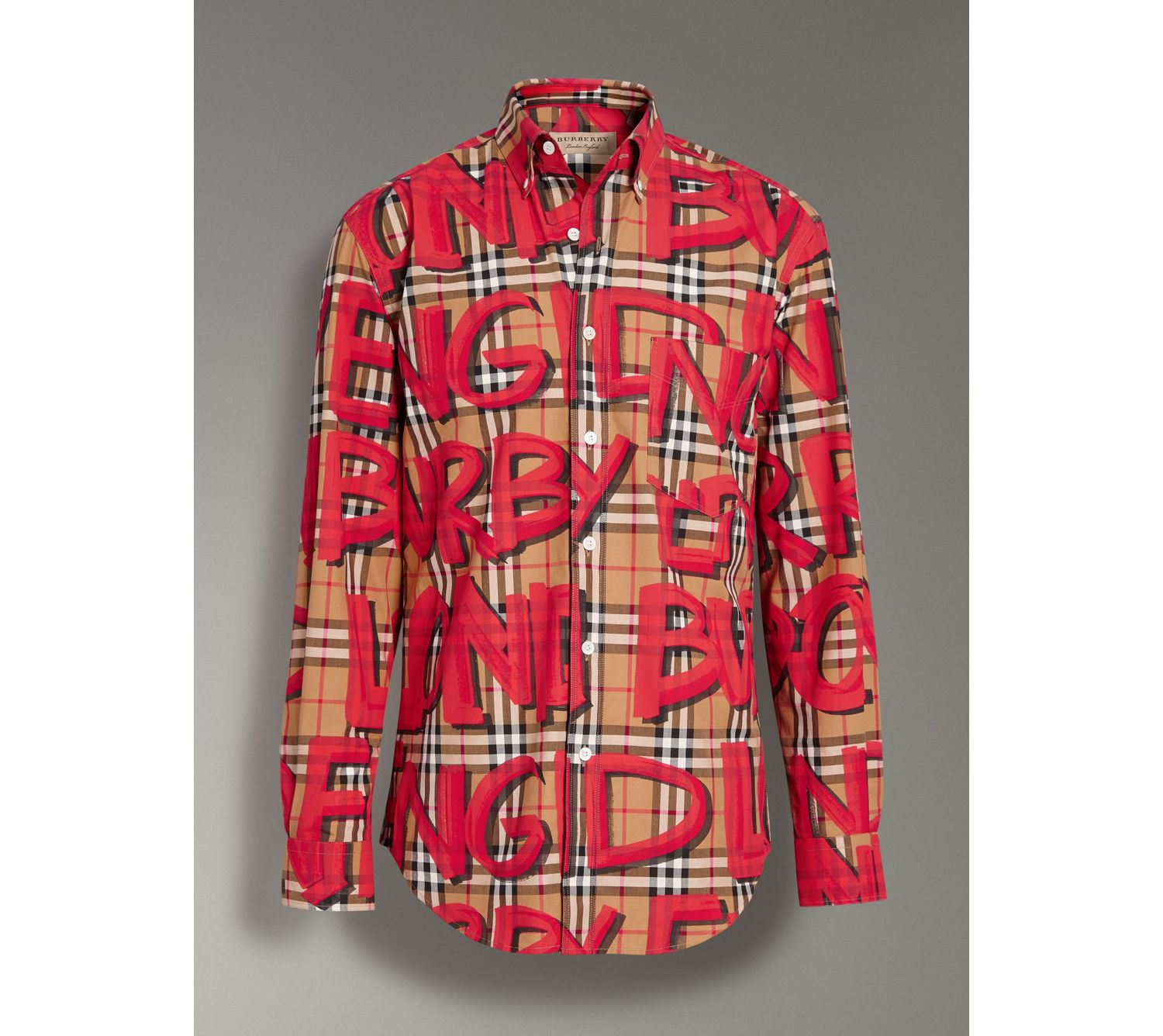 Graffiti Print Vintage Check Shirt in Bright Red