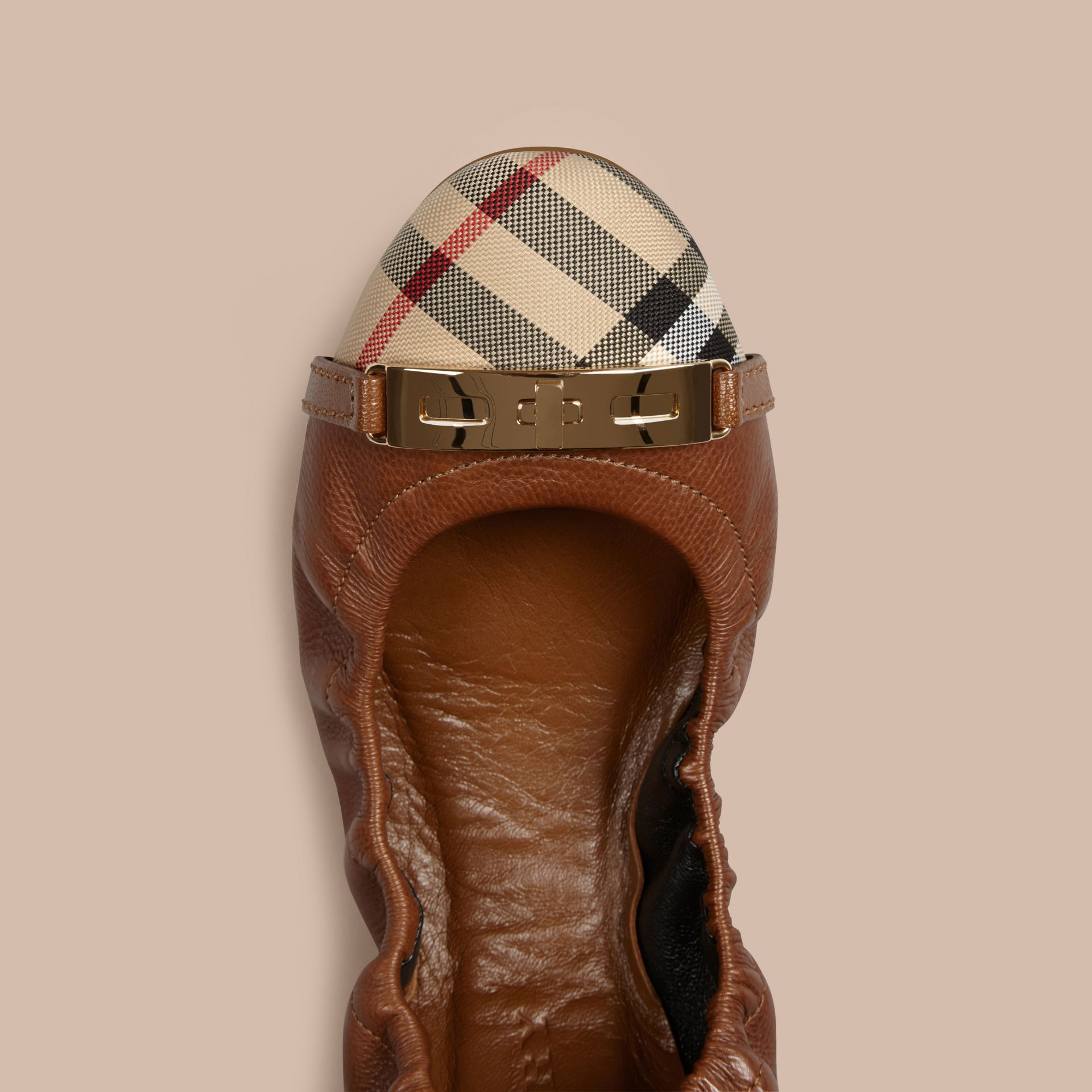 Horseferry Check Leather Ballerinas in Tan - gallery image 2