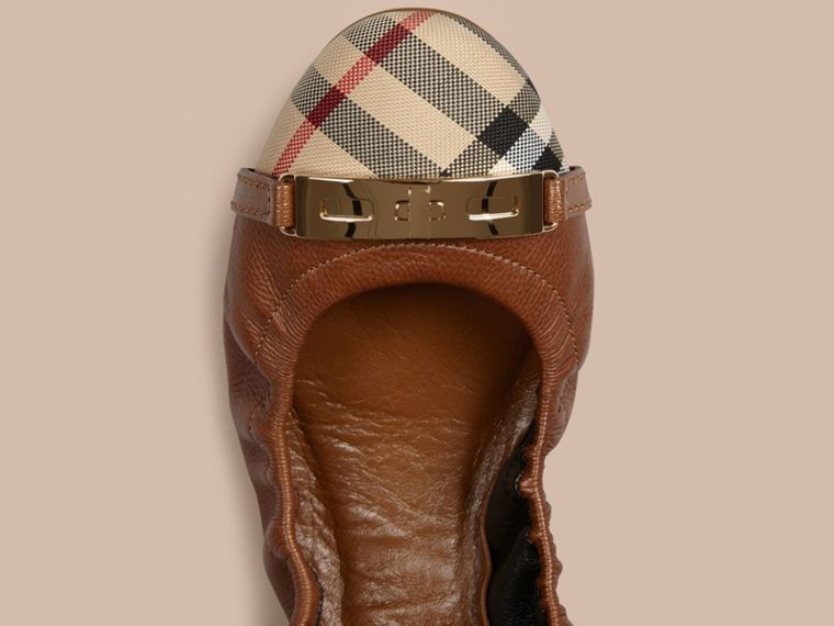Horseferry Check Leather Ballerinas in Tan - Women | Burberry - cell image 1