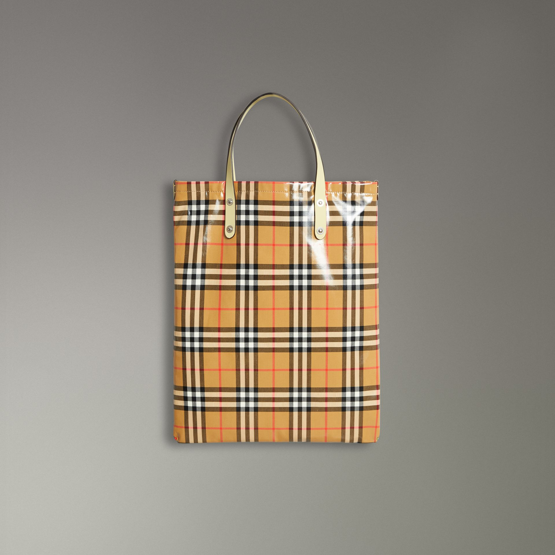 Medium Coated Vintage Check Shopper in Pale Yellow | Burberry United Kingdom - gallery image 0