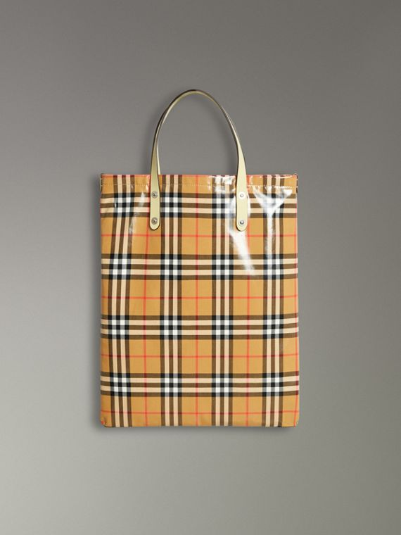 Shopper media in cotone rivestito con motivo Vintage check (Giallo Pallido)