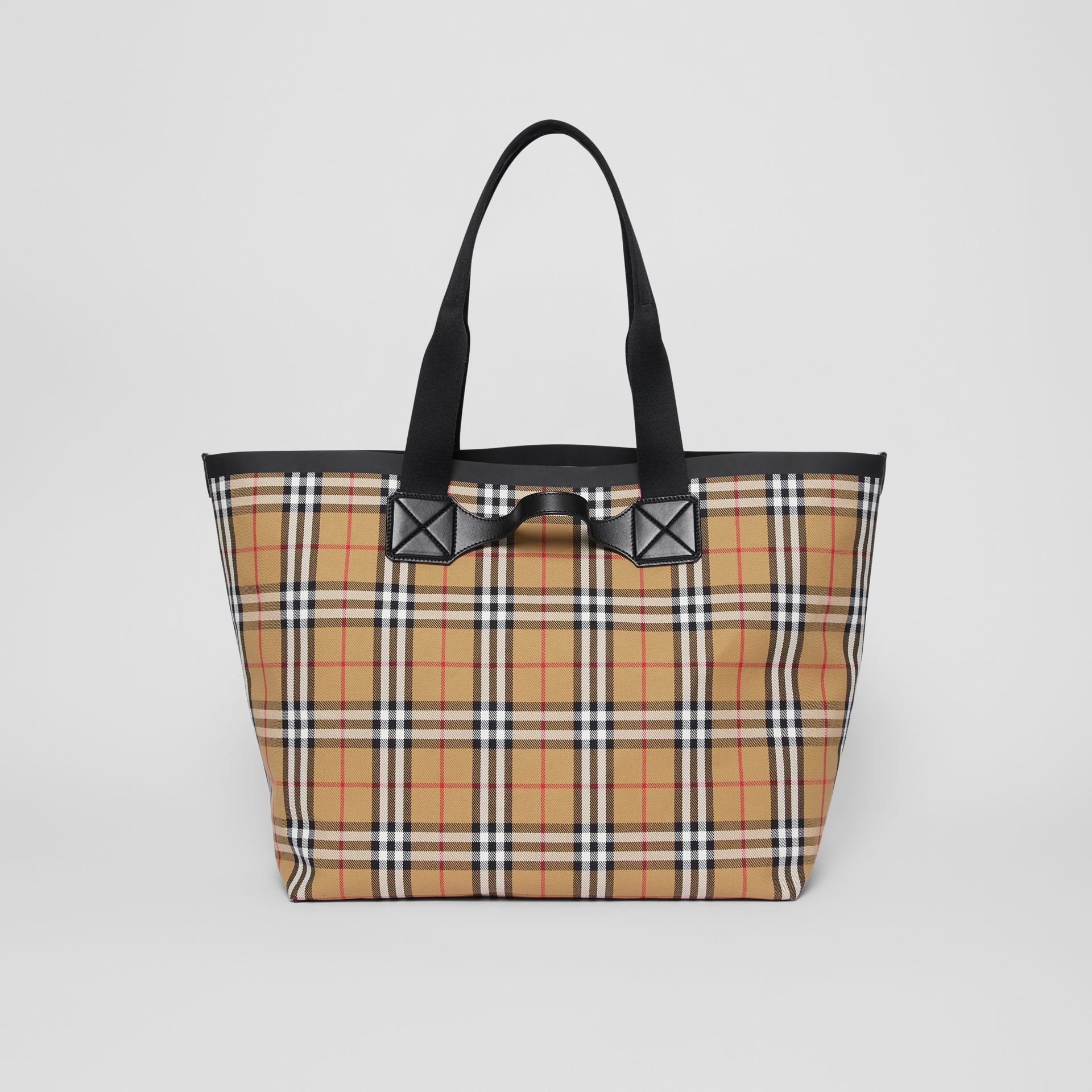 Large Vintage Check Austen Tote in Archive Beige - Women | Burberry Canada - gallery image 7