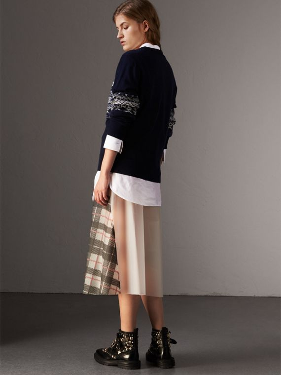 Fair Isle Detail Merino Wool Sweater in Navy - Women | Burberry - cell image 2