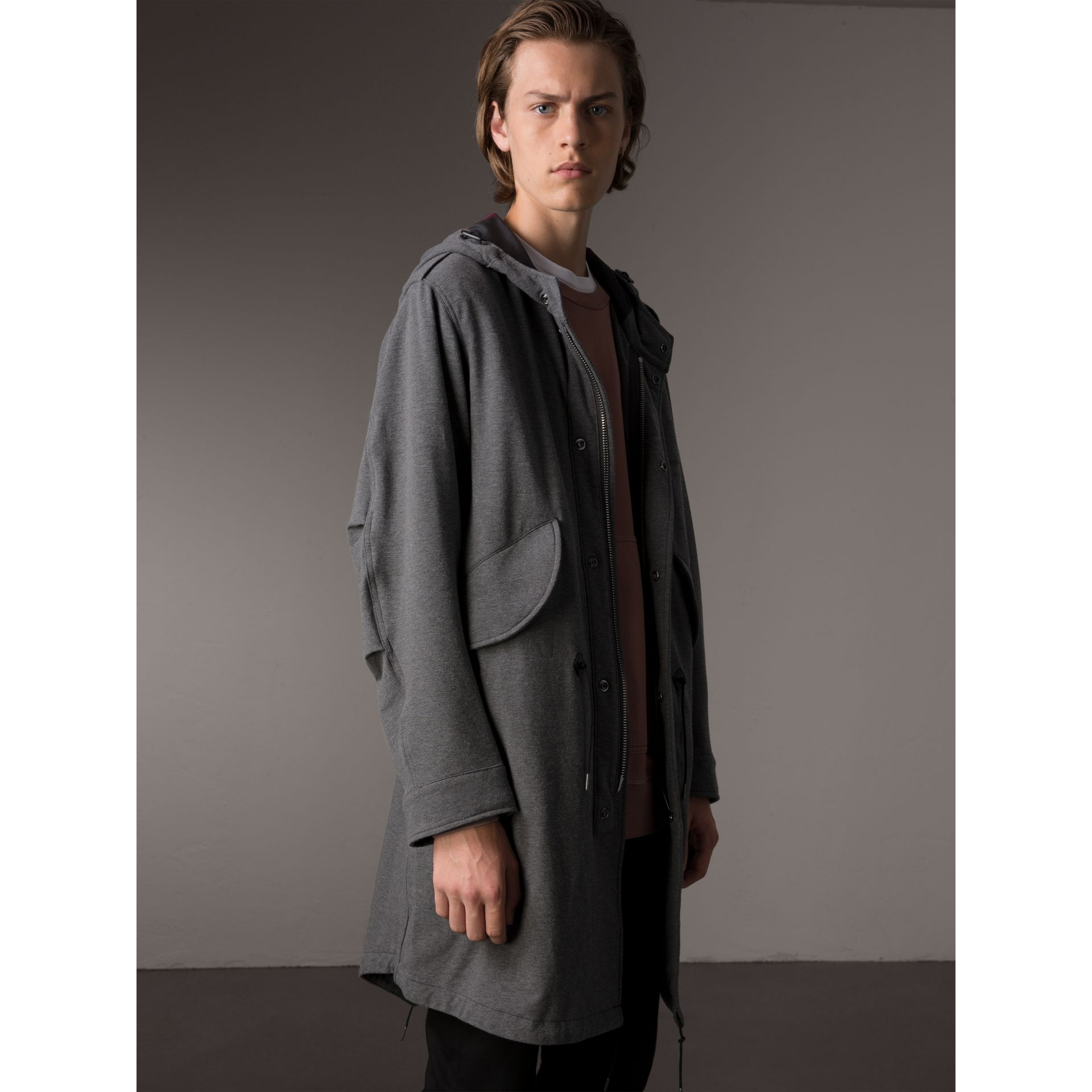 Lightweight Jersey Parka in Dark Grey Melange - Men | Burberry - gallery image 5