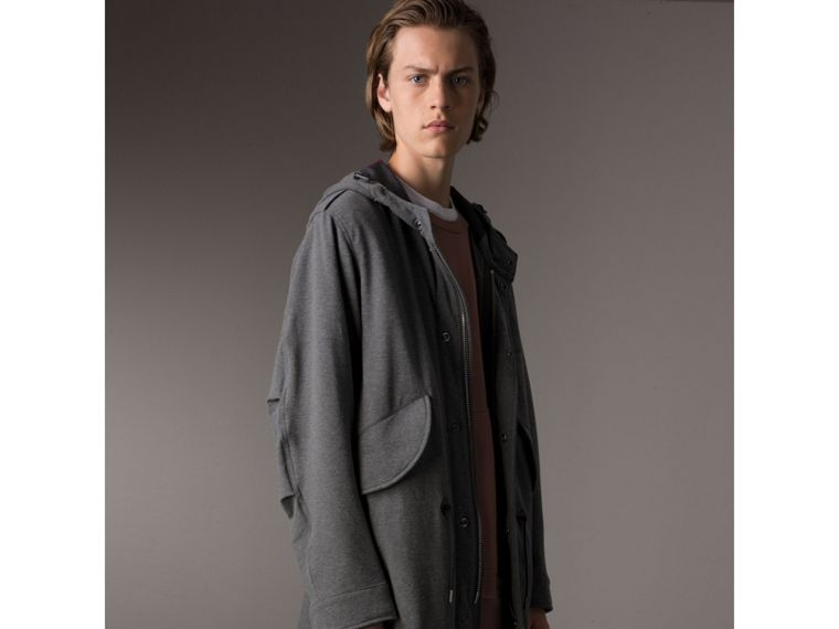 Lightweight Jersey Parka in Dark Grey Melange - Men | Burberry - cell image 4